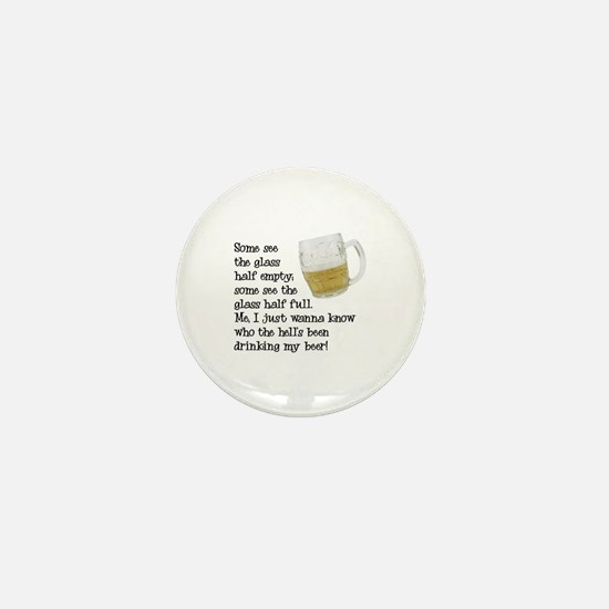 Half Glass Of Beer Mini Button