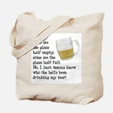 Half Glass Of Beer Tote Bag