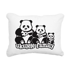 Ukulele Panda Family Rectangular Canvas Pillow