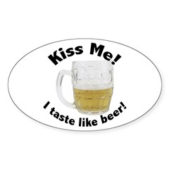 Kiss Me Beer Oval Decal