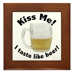 Kiss Me Beer Framed Tile