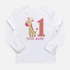 Pink Giraffe First Birthday - Personalized Long Sl