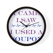 i came i saw i used a coupon Wall Clock