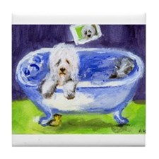Old English Sheepdog wants ducky Tile Coaster