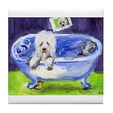 Old English Sheepdog wants ducky Tile Coaster