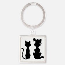 cat and dog13 Square Keychain