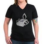 Cat Scan Women's V-Neck Black T-Shirt