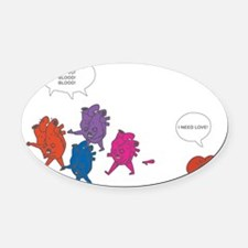 Heart Zombies Color Oval Car Magnet