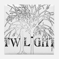 twilight snow trees for dark copy Tile Coaster