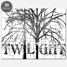 twilight black and white snow trees for whi Puzzle