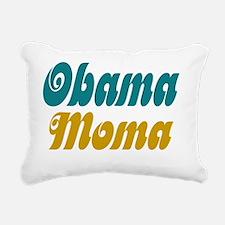 obama moma aqua and gold Rectangular Canvas Pillow