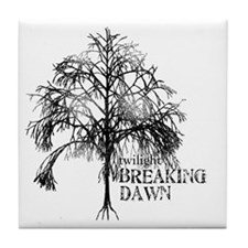 breaking dawn tree black and white co Tile Coaster