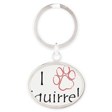 I_Paw_Squirrels_8_Black_Red Oval Keychain