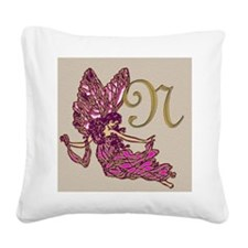 Fairy Monogram BN Square Canvas Pillow
