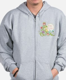 Cute Whimsical Owl n Butterfly Scroll F Zip Hoodie