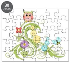 Cute Whimsical Owl n Butterfly Scroll Flora Puzzle