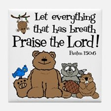psalm 150 6 critters1 Tile Coaster