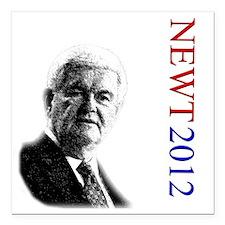 "Newt For President onWhi Square Car Magnet 3"" x 3"""
