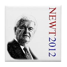 Newt For President onWhite Tile Coaster