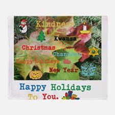 HAPPY HOLIDAYS TO YOU KINDNESS LEAF. Throw Blanket