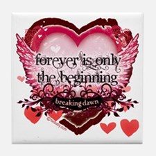 forever is only the beginning red hea Tile Coaster