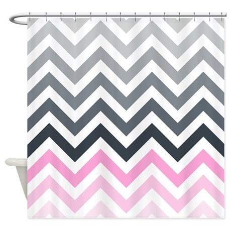 Grey And Pink Chevrons Pattern2 Shower Curtain By Erics Designz