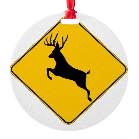 Whitetail caution Round Ornament
