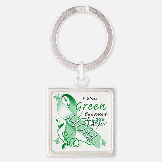 I Wear Green Because I Love My Mom Square Keychain