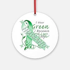 I Wear Green Because I Love My Husb Round Ornament