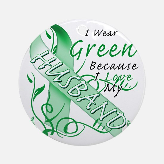 I Wear Green Because I Love My Husb Round Ornament