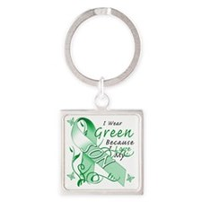 I Wear Green Because I Love My Son Square Keychain