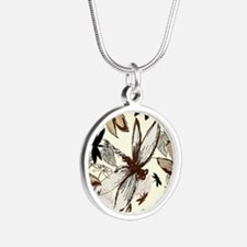dragonflies Silver Round Necklace