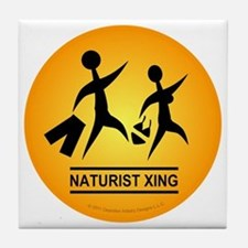 Naturist Xing Button Tile Coaster