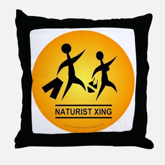 Naturist Xing Button Throw Pillow