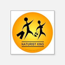 "Naturist Xing Button Square Sticker 3"" x 3"""