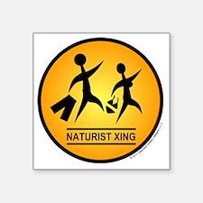 "Naturist Xing Shirt Square Sticker 3"" x 3"""