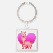 alpaca3 Square Keychain