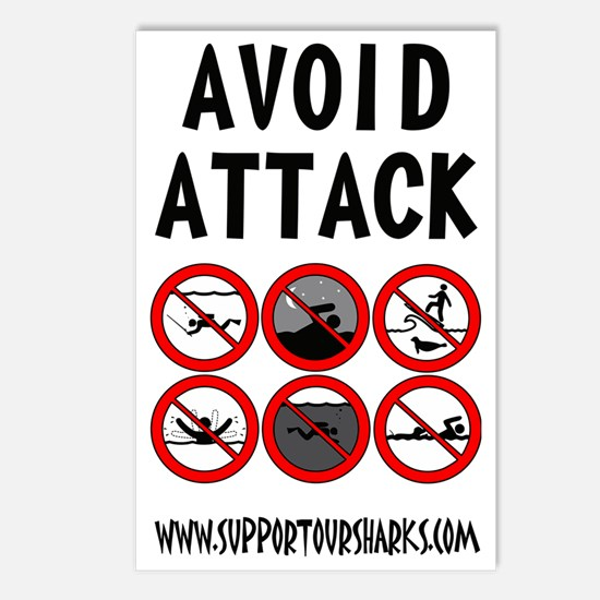 Avoid Attack Black Postcards (Package of 8)
