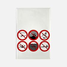 Avoid Attack White Rectangle Magnet