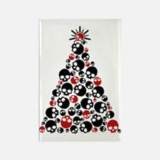 Gothic Skull Holiday Tree Rectangle Magnet