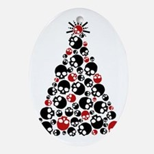 Gothic Skull Holiday Tree Oval Ornament