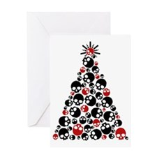 Gothic Skull Holiday Tree Greeting Card