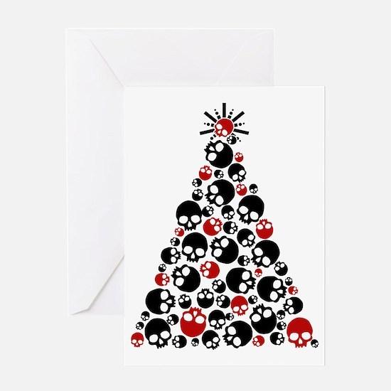 Gothic Skull Holiday Tree Greeting Card