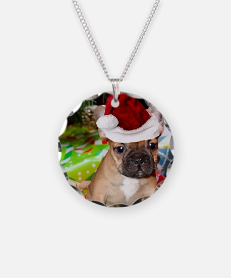 christmas French bulldog 4a Necklace