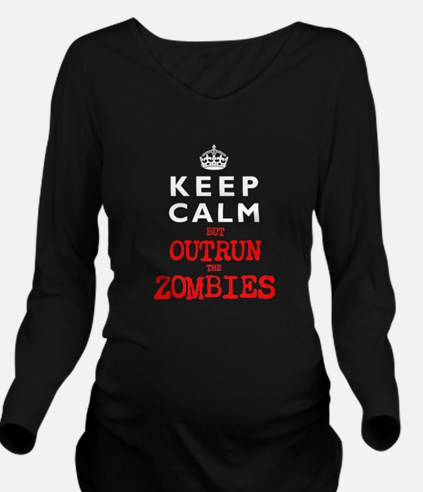 KEEP CALM but OUTRUN the ZOMBIES Long Sleeve Mater