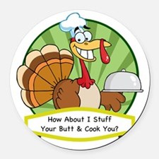 thanksgiving butt-001 Round Car Magnet