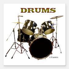 """Drum Set III Square Car Magnet 3"""" x 3"""""""