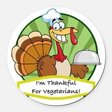thanksgiving vegetarian Round Car Magnet
