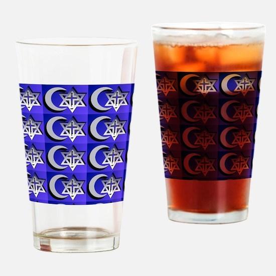 three faiths multi Drinking Glass
