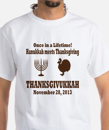 Thanksgivukkah Thanksgiving meets White T-Shirt